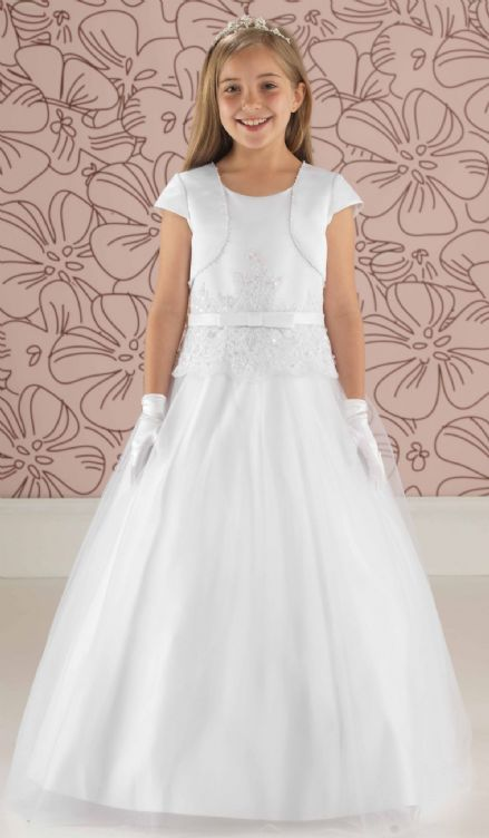Satin & Tulle Communion Dress with Peplum Detail